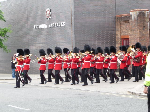 Band of The Scots Guards leaves Victoria Barracks