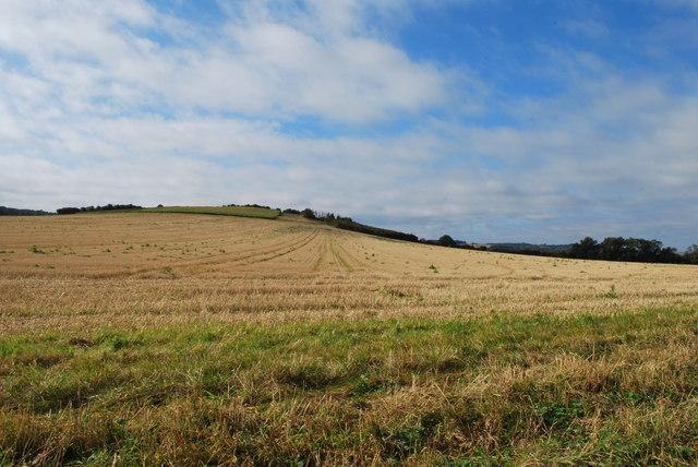 Rolling Farmland and County Boundary Near Pirton