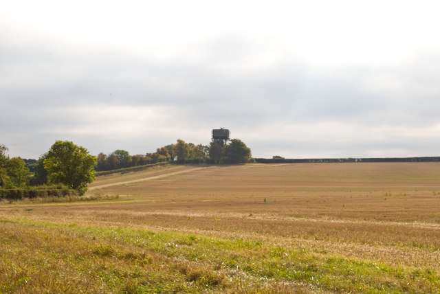 Farmland leading to Water Tower on the horizon