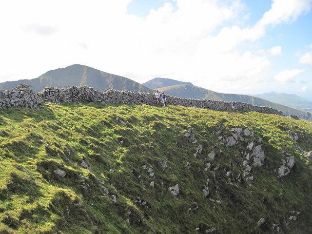 The summit wall of Y Garn
