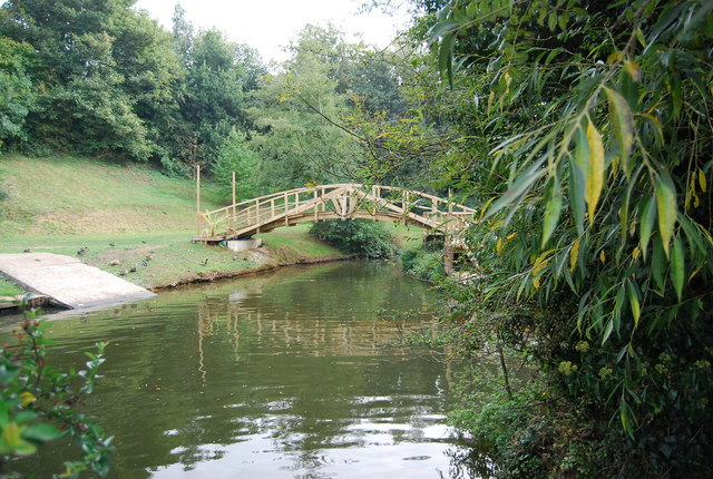 Wooden footbridge on a backwater of the River medway