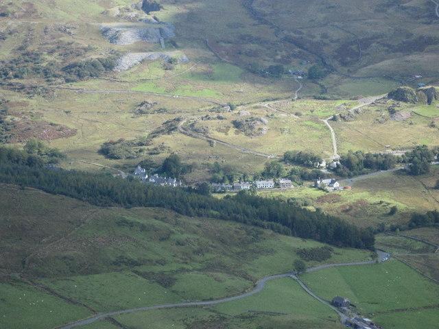 Rhyd Ddu village, from the summit of Y Garn