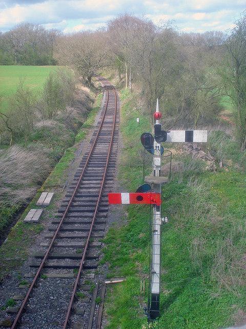 Signals and restored line near Fencote Station