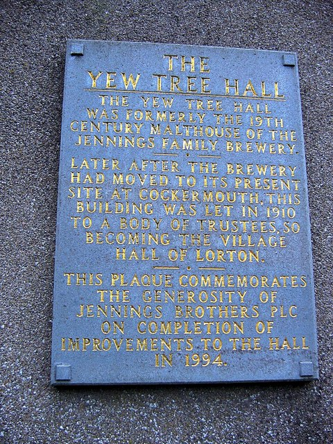 Plaque on the wall of Lorton village hall