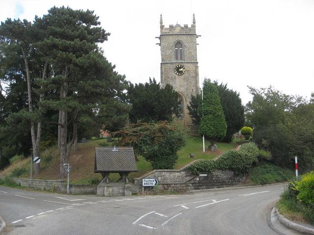 Kirton Church and A6075 at Rice Hill