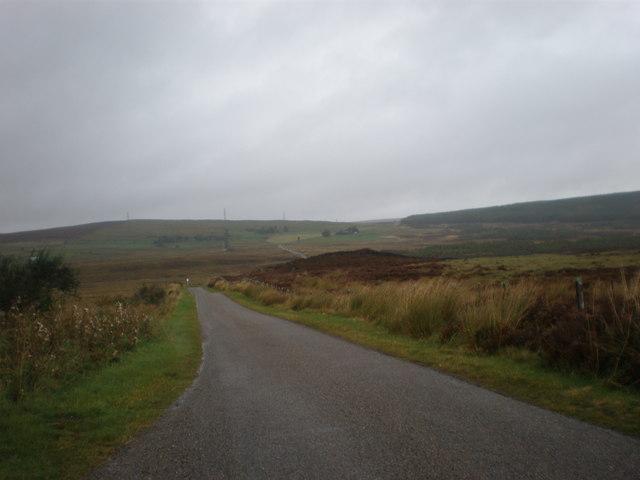 Road crossing Moor towards Loch Buidhe