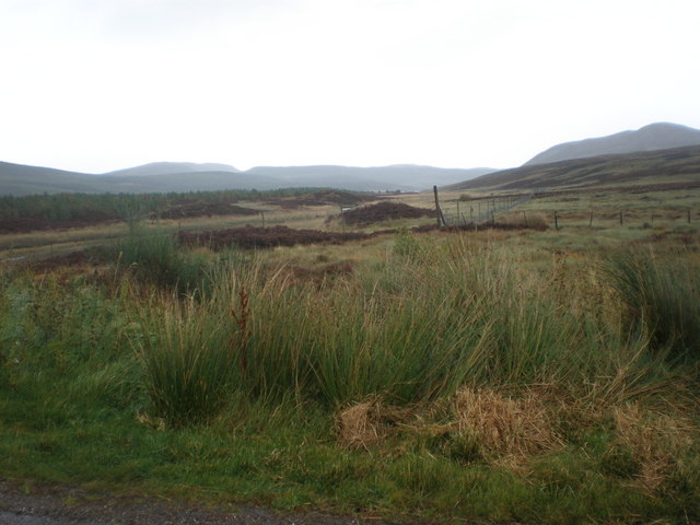 View towards Loch an Lagain from road crossing An Uidh