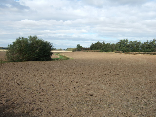Ploughed field on the edge of Roman Bank near Newton