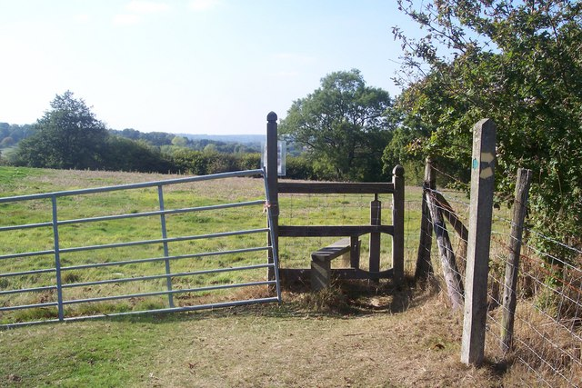 Stile and footpath junction in Scotney Estate