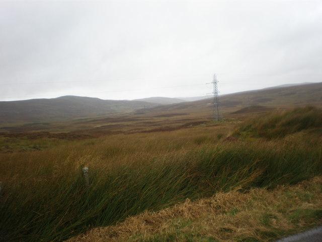Power lines crossing moorland near Sallachy