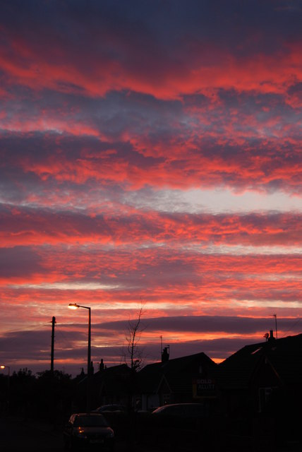 Sunset over Burns Ave, Thornton Cleveleys