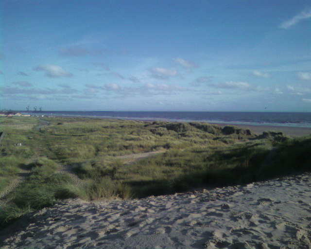 Port Talbot steelworks and beach front  in view