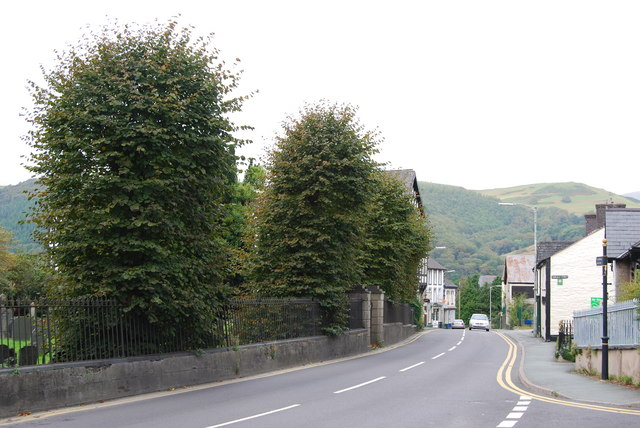Looking towards Machynlleth railway station