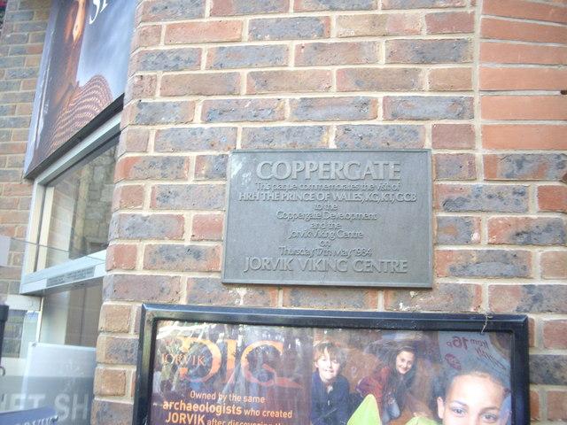 A plaque in Coppergate
