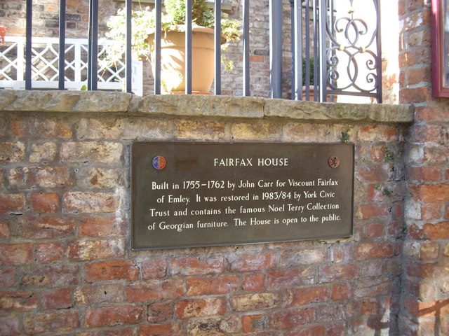 Fairfax House historic plaque