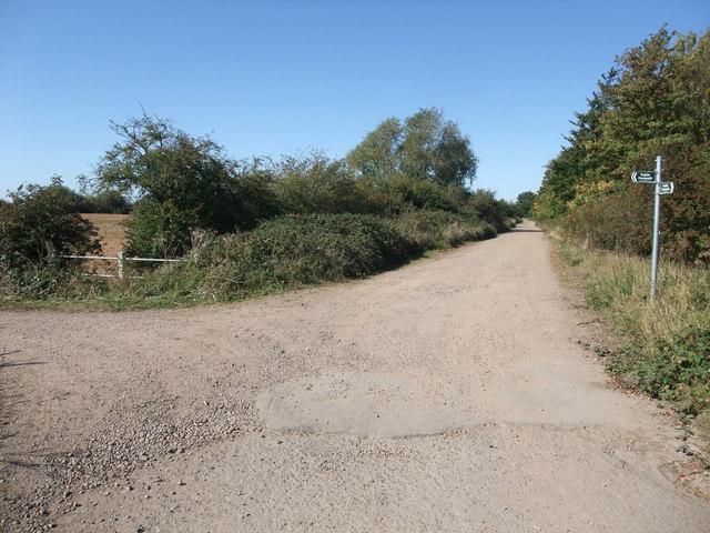 Footpath junction on Trent Lane