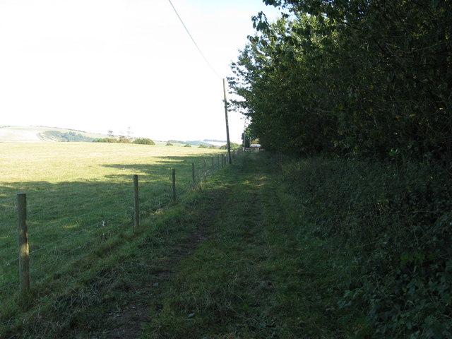 Bridleway alongside Highden Barn