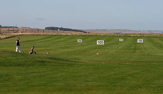 The practice area at Goswick Golf Course