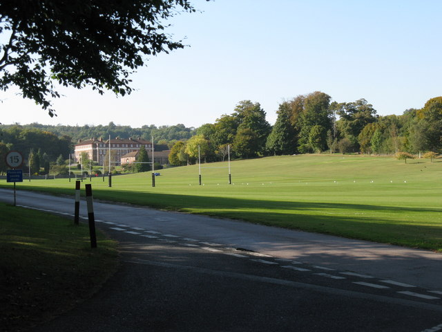 Playing fields alongside drive to Windlesham House School