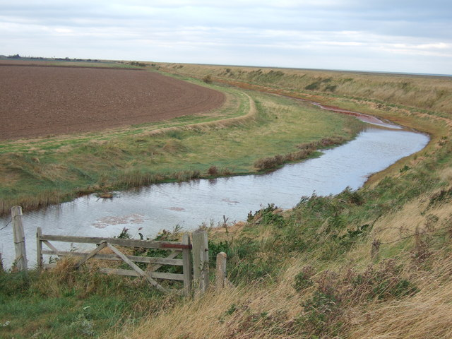 Drainage channel behind the sea bank