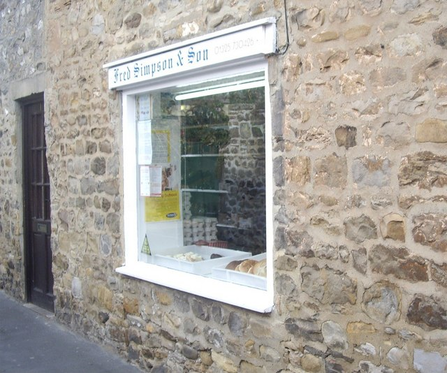 Gainford butchers' shop window