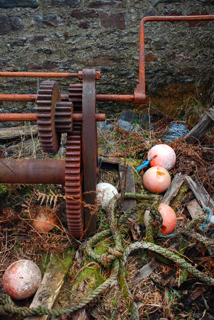 Rusted winching gear behind boathouse, Kilfinan Bay, Loch Fyne