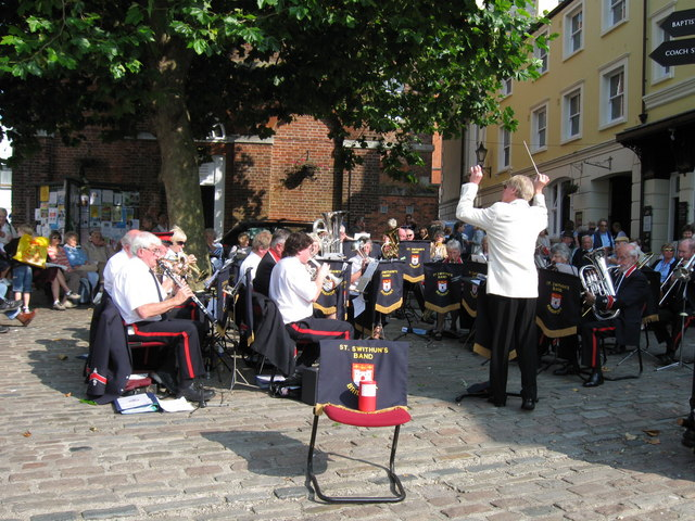 Brass Band playing in Bucky Doo Square,  Bridport.