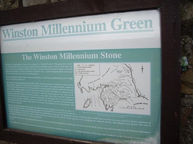 A 'Winston Millennium Green' notice