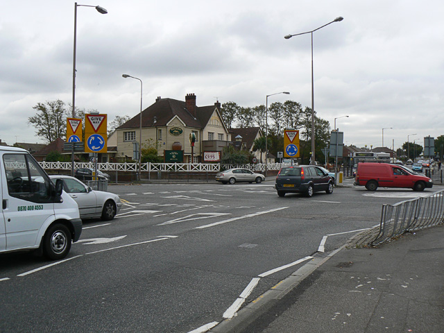 The Tarpots road junction and pub