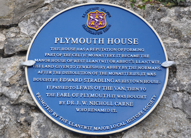 Blue Plaque, Plymouth House - Llantwit Major