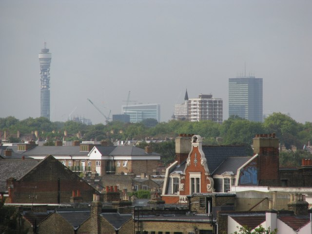Stoke Newington rooftops from the southerly tower of the George Downing Estate