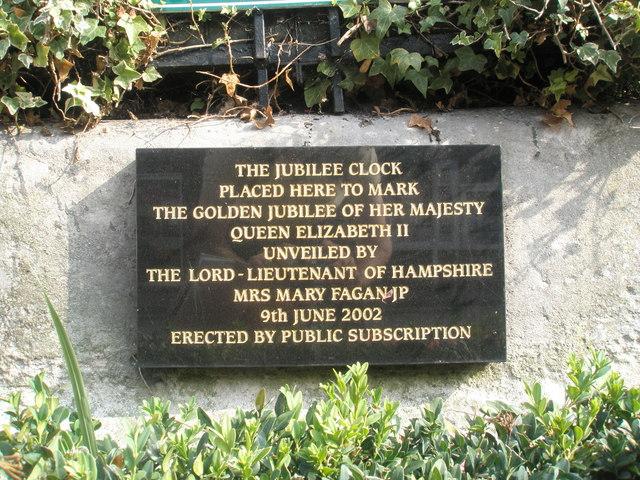 Memorial plaque beneath the Jubilee Clock in Bishop's Waltham town centre
