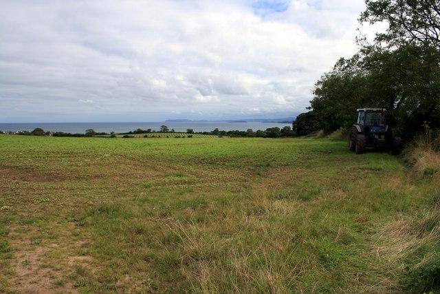 Field and tractor near Plas Lligwy