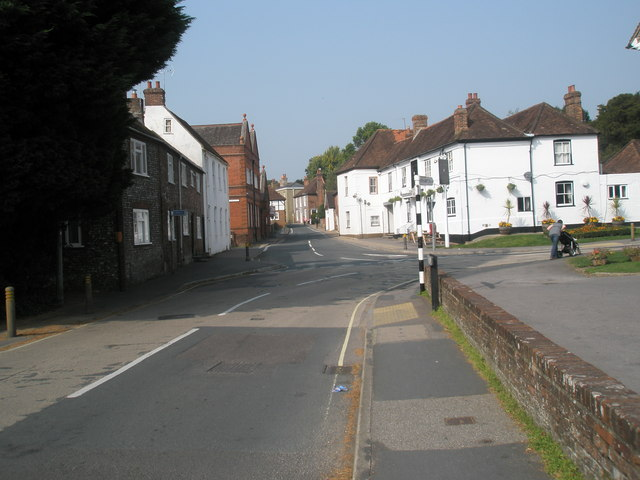 Looking from Hoe Road towards the staggered crossroads