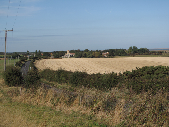 Morston village and the A149 from the East