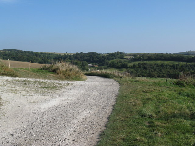 Bridleway on the hill brow where a restricted byway crosses
