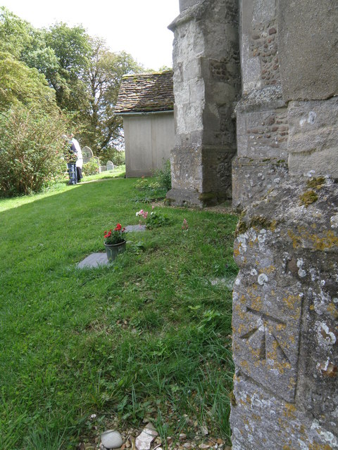 Bench Mark on Great Eversden church