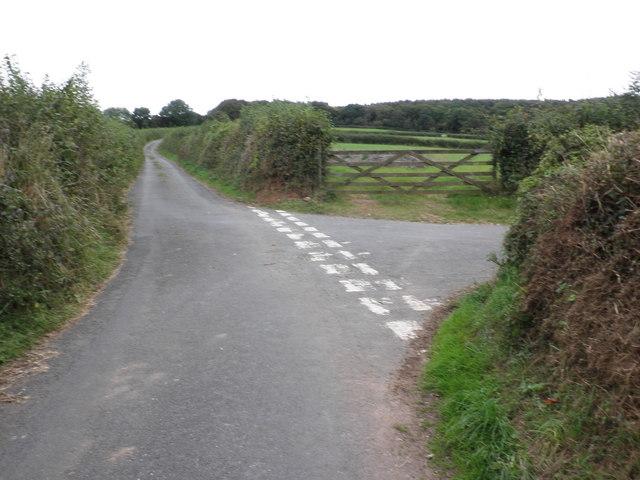 Minor road junction, near Waddon