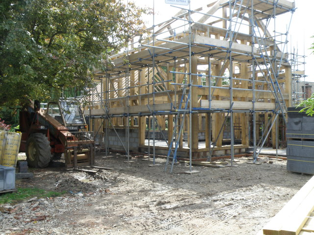 Timber frame of a new house, Great Eversden