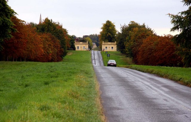 Looking down Stowe Avenue to the gatehouses