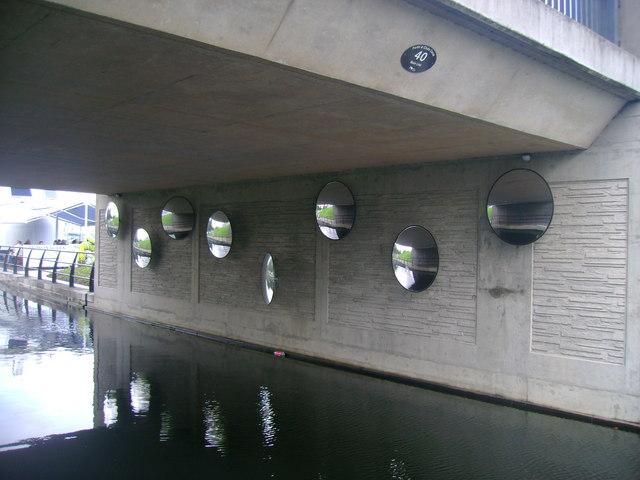 Mirrors adorning road bridge over Forth and Clyde Canal