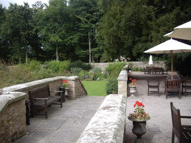 The patio at Headlam Hall
