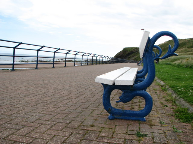 Seating on the promenade at Spittal