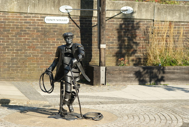 """The Bargeman"" Sculpture on Town Wharf, Guildford, Surrey"