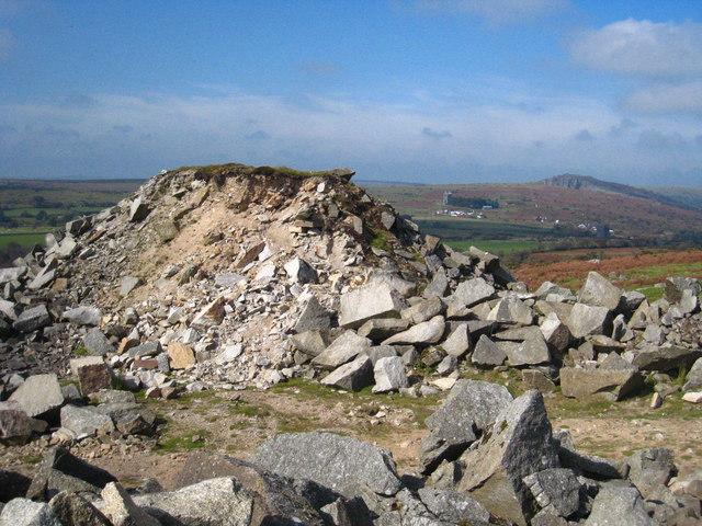 Spoil heap at Caradon Hill quarry