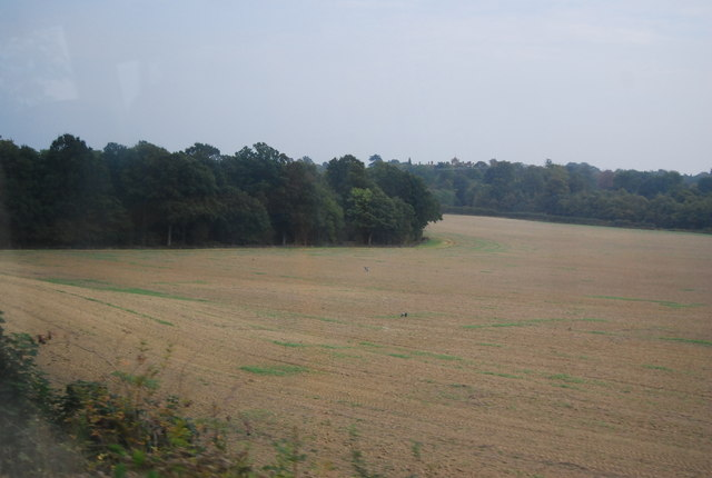 Large ploughed field south of the railway line