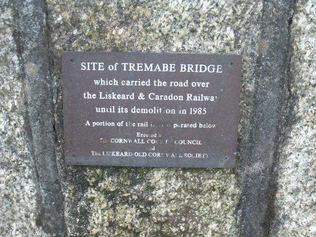 The plaque on Tremabe Railway Bridge memorial