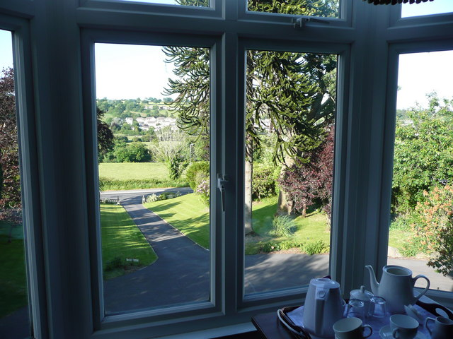 Looking out from the Maes-y-derw B&B onto the main Cardigan Road