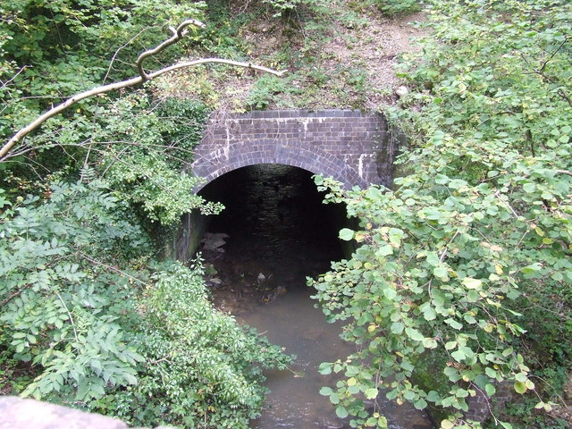 River Coln going under old railway embankment