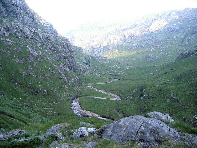 The snaking river to Lochan a' Mhaim